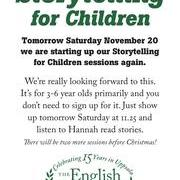 Storytelling for Children, Saturday November 20