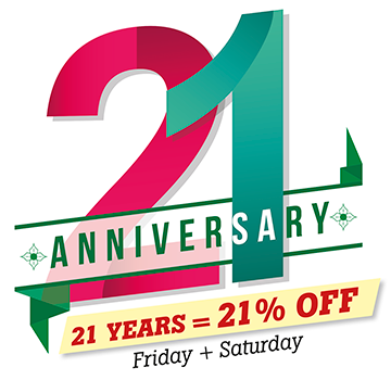 Turning 21 - 21% off Friday and Saturday