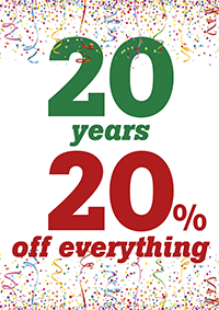 20 years - 20 percent off everything