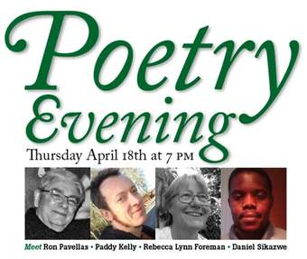 Poetry evening: Ron Pavellas, Pad Kelly, Rebecca Lynn Foreman, Daniela Sikazwe
