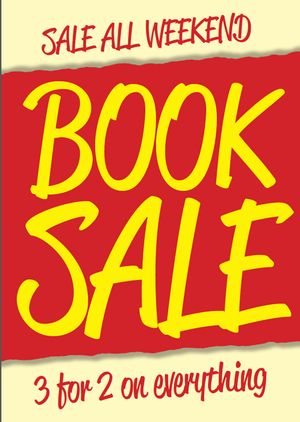 Book sale all weekend – 3 for 2 on everything
