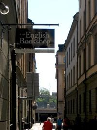 The English Bookshop sig hangin over the new bookshop in Stockholm Old Town