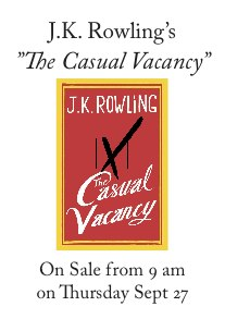 "Releas of J.K. Rowling's new novel ""The Casual Vacancy"""